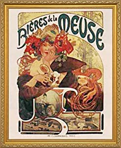 Bieres de la Meuse (Alphonse Mucha). Framed Vintage Beer Advertising Reproduction Poster. Custom Made Real Wood Traditional Gold Frame (18 1/8 x 22 1/8)