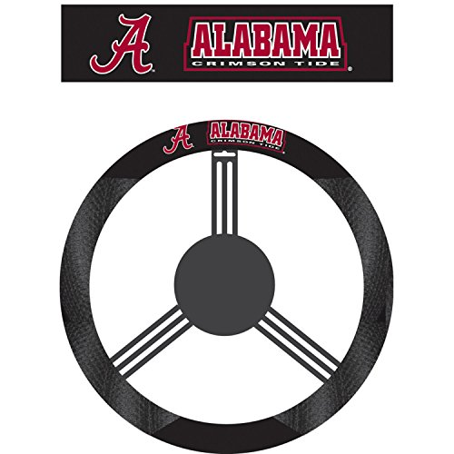 NCAA Alabama Crimson Tide Steering Wheel Cover, Black (Steering Wheel Cover Alabama compare prices)