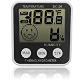 iGadgitz Xtra Digital LCD Indoor Humidity Meter Hygrometer Thermometer Temperature with Stand & Fridge Mount Magnet