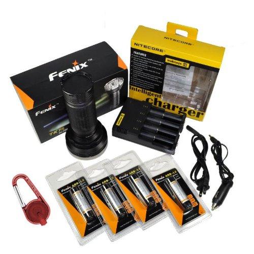 Fenix Tk75 2600 Lumen Triple Cree Xm-L U2 Led Flashlight/Searchlight With 4X Fenix Arb-L2 18650 2600Mah Li-Ion Rechargeable Batteries, Nitecore I4 Intelligent Home/Car Charger And Smith & Wesson Led Carabiner Clip Light Package