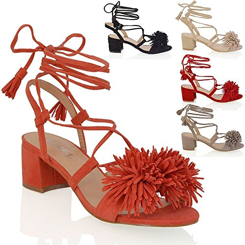 Essex Glam womens block heel faux suede tie up fringe low heel sandal shoes