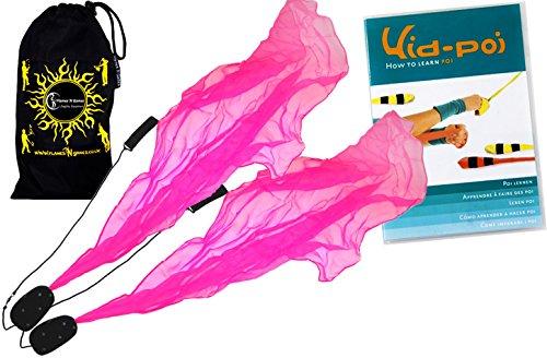 Flames N Games Angel Poi Set (Pink) Practice Poi Aka Scarf Spiral Poi + Kid Poi Dvd + Travel Bag