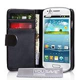 """Samsung Galaxy S3 Mini Tasche Galaxy S3 Mini Schwarz PU Leder Brieftasche H�llevon """"Yousave Accessories�"""""""