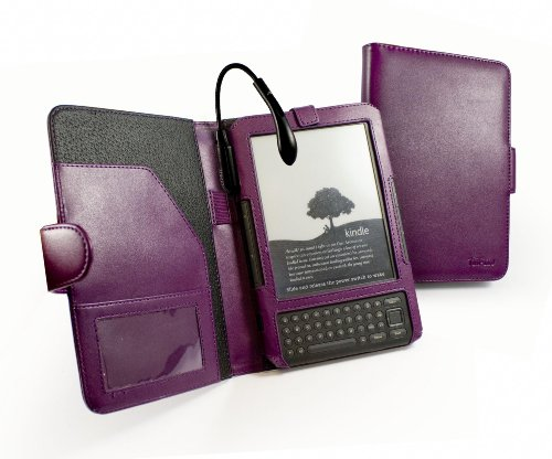Tuff-Luv Spark Traditional Leather case cover for Amazon Kindle Keyboard / Kindle 3 Book Style folio - Plum Purple