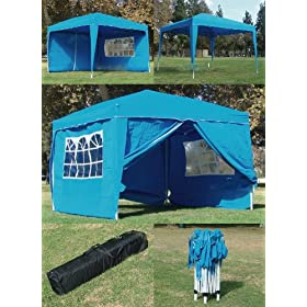 10 x 10 BLUE CANOPY GAZEBO FOLDING TENT INSTANT POP UP