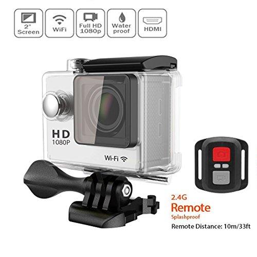"""Lyhoon 1080P macchina fotografica impermeabile di sport con 12MP WIFI e controllo 2 """"LCD, FHD, 140 gradi DVR ampio fotocamera angolo con 2.4G telecomando (argento, 1080P-WIFI)"""