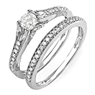 0.60 Carat (ctw) 14k White Gold Round Diamond Ladies Bridal Split Shank Ring Engagement Matching…