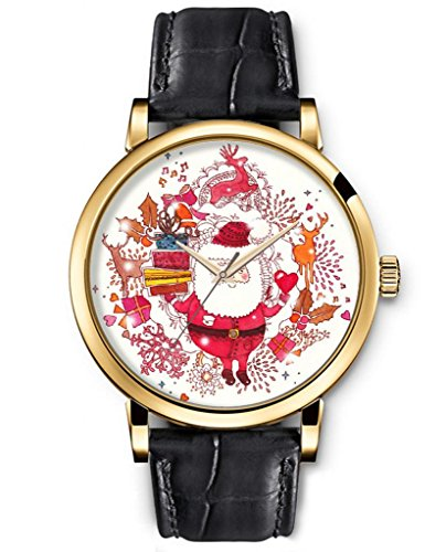 Sprawl Classic Analog Round Face Genuine Black Leather Gold Watches Present For Women Fun Design --- Cute Cartoon Santa Claus Watch front-997162