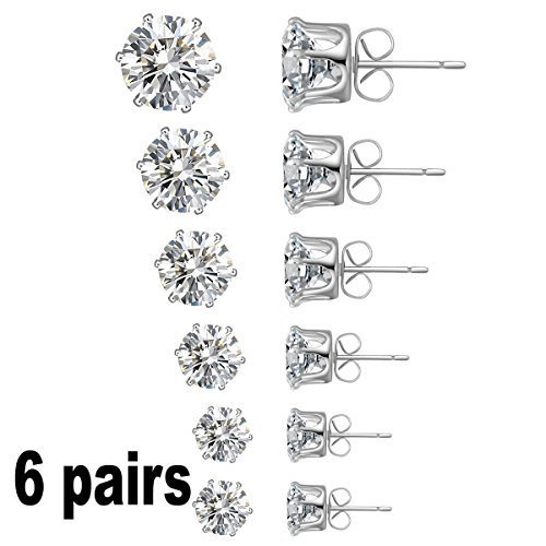 Globalhomeqi Jewelry Women's Stainless Steel Round Clear Cubic Zirconia Diamond Rhinestone Stud Earring (6 Pairs) Color Silver EAC-01