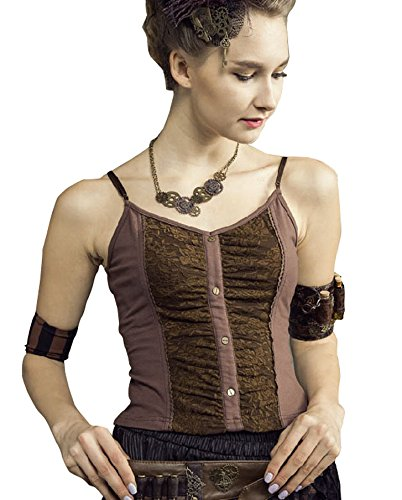 Steampunk Retro Brocade Gothic Overbust Belt Corset Bustiers Vest Tank Tops