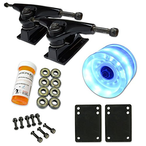 LONGBOARD Skateboard TRUCKS COMBO set w/ LED light up WHEELS + trucks Package by Yocaher (60mm Blue, HD5 Black trucks) (Led Light Up Longboard Wheels compare prices)