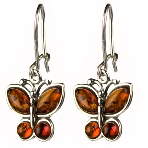 Certified Genuine Honey Amber and Sterling Silver Butterfly Earrings