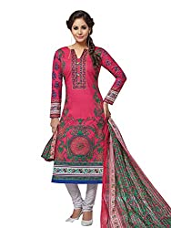 PShopee Pink & Purple Karachi Cotton Printed Unstitched Salwar Dress Material