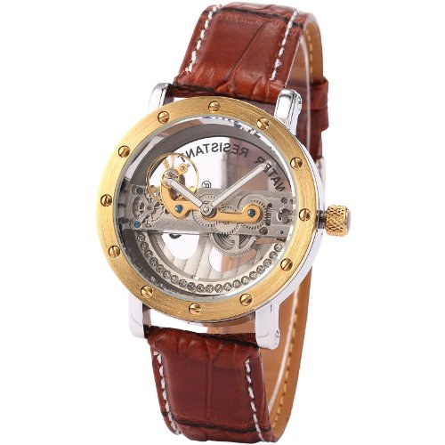 AMPM24 Mens Luxury Analog Steampunk Brown Leather Automatic Mechanical Skeleton Watch PMW151