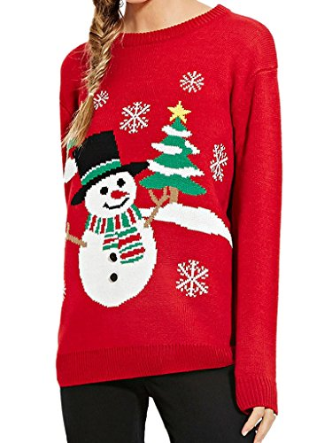 Christmas Red Snowman And Tree Ugly Sweater