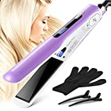 Natalie Styx Purple Flat Iron Hair Straighteners - 1.5 Inch Tourmaline Ceramic PTC Fast Heating Plates and Digital LCD Display, with 2 Salon Clips, Heating Glove & Storage Travel bag for gift sets