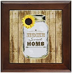 3dRose ft_128555_1 Country Rustic Mason Jar with Sunflower Home Sweet Home Framed Tile, 8 by 8-Inch