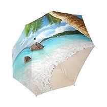 Tropical Paradise Beach Coast Custom Foldable Rain Umbrella Wind Resistant Windproof Floding Travel Umbrella