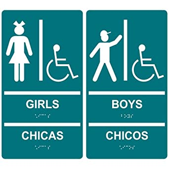 Amazon.com: ComplianceSigns ADA Acrylic Tactile + Braille Girls / Boys
