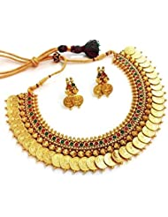 Awww Traditional Red And Green Temple Coin Necklace Set With Earrings For Women