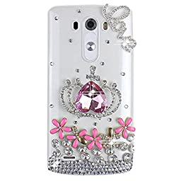 LG V10 Bling Case - Fairy Art Luxury 3D Sparkle Series Heart Crown Flowers Floral LOVE Crystal Design Back Cover with Soft Wallet Purse Red Cloth Pouch - Pink