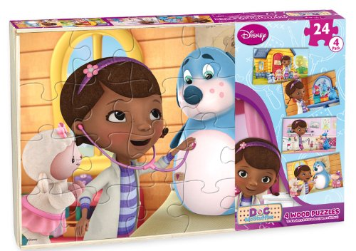 51wtxrbF7BL Cheap Price Doc McStuffins Wood Puzzle, 4 Pack Box