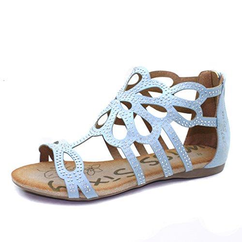 MS751 Miss Sixty Sandalo Tallone Alto da Bambina in Celeste Faux Cam Taglia 32