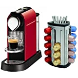 Nespresso CitiZ Fire Engine Red Automatic Espresso Maker with FREE Brabantia Nespresso Coffee Capsule Dispenser, 30 Capsule Capacity