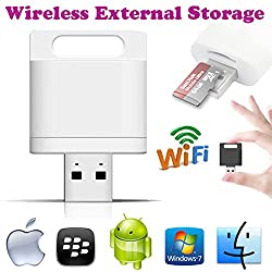 Gadget Hero'sTM Wireless Wifi Card Reader Extended Mobile Storage For Apple iPhone iPad Android Phones & Tablets.
