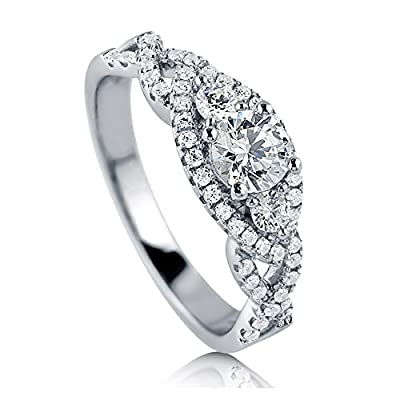 BERRICLE Sterling Silver with Round Swarovski Zirconia 3 Stone Promise Engagement Wedding Ring