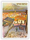 Peru - Arequipa Village, South America - El Misti Volcano (Putina) - Vintage World Travel Poster by F.C. Hannon c.1950s - Master Art Print - 9in x 12in