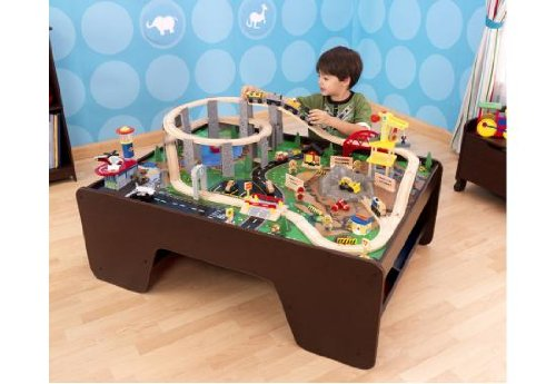 Kidkraft Wooden Espresso Train Table with Spiral Quarry Train Set with Lights and Sounds
