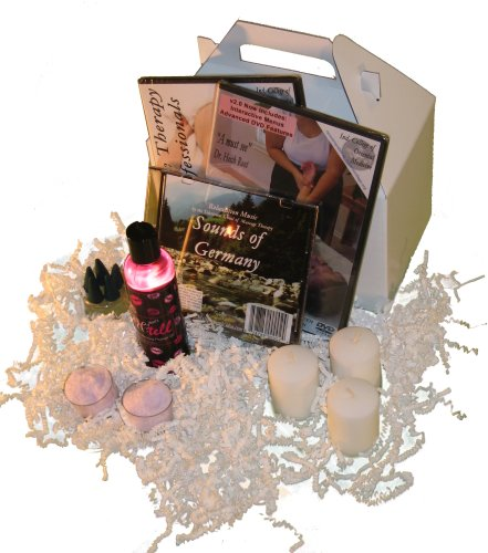 Anniversary Massage Gift Basket: Basic Massage DVD, Professional Massage DVD, Oil, Relaxation Music (2 DVD/1 Oil/1 CD)