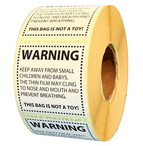 Idea-station 1000 pcs etichetta soffocamento avvertimento 50 x 50 mm etichette-ruolo; Adesivi Amazon FBA bene adesiva, colore: bianco nero, Suggerimento-Label Englisch Universale Versandvorschriften