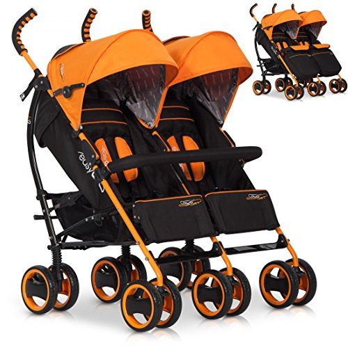 Passeggino per fratelli sorelle DUO COMFORT por bambino gemellari e doppi, colore: electric orange