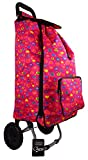 Womens Girls Quality Wheeled Shopping Trolley Floral Hearts Polka Dot Holdall Pully Bag (Large Pink Hearts)