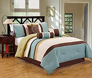 Chezmoi Collection 7-piece Medallion Green Beige Brown Blue Comforter Bedding Set (King)