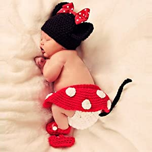 Coromose Cute Safty Newborn Baby Knit Crochet Minnie Clothes Hat+skirt+shoes Photo Prop Outfits Mickey Mouse Patern