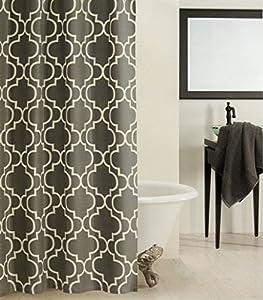 Max Studio Home 100 Percent Cotton Shower Curtain Moroccan Tile Quatrefoil Off White