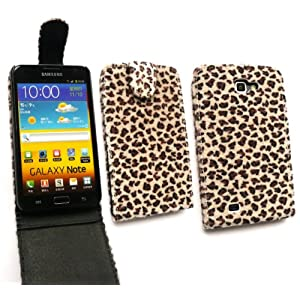EMARTBUY SAMSUNG GALAXY NOTE N7000 FURRY LEOPARD BROWN FLIP CASE/COVER/POUCH AND LCD SCREEN PROTECTOR