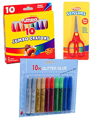 Playskool Jumbo Crayons, Safety Scissors, and Glitter Glue