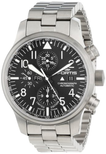 Fortis Men's 701.10.81 M F-43 Flieger Chronograph Stainless-Steel Automatic Chronograph Date Watch