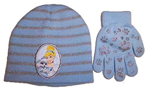Disney Princess Toddler Girls Striped Knit Beanie Hat and Mitten Set
