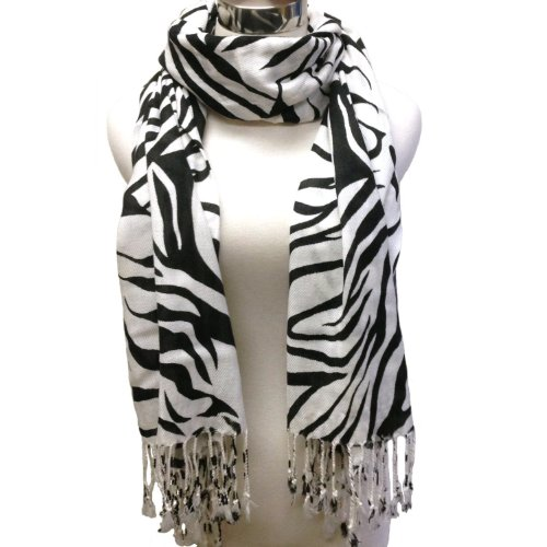 Premium Fashion Animal Print Zebra Shawl Scarf Wrap - Black 2