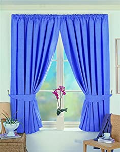 SUPERB QUALITY BLACKOUT BLACK OUT THERMAL BLUE PENCIL PLEAT CURTAINS 90 X 54 (229x137cm) from Curtains