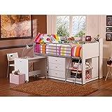 Savannah Storage Loft Bed with Desk, White