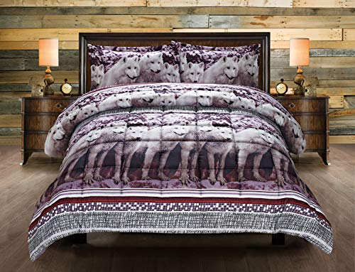 White Mountain Wolf Print Goose Down 3 Piece Set Box Stitched Clearence 3D Comforter Set