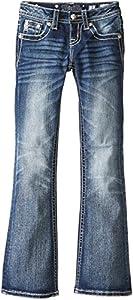Miss Me Big Girls' Star Flat Pocket Bootcut Jeans, Medium Blue, 12
