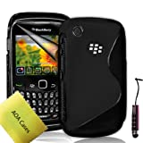 Case For Blackberry Curve 8520 9300 TPU Silicone Gel Grip Hydro Wave S-Line Series Back Cover + Lcd Screen Protector Guard + Mini Stylus AOA CasesTM (Black)