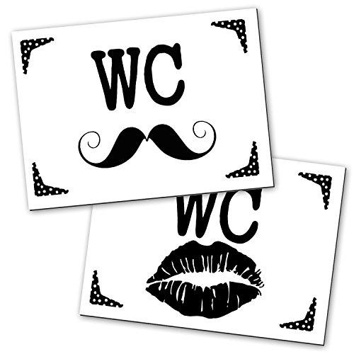 2 wc schilder lippen schnauzer im modernen schwarz wei look f r frauen und m nner 14 8 x. Black Bedroom Furniture Sets. Home Design Ideas